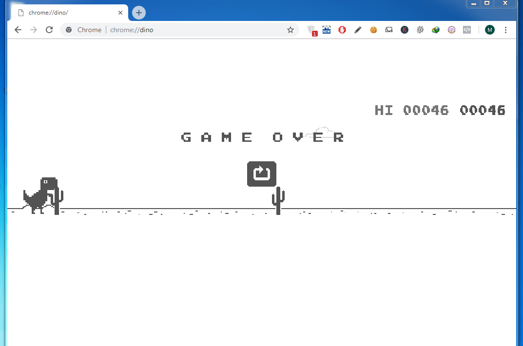Enjoy the Hidden Dinosaur Game when Chrome is Offline?